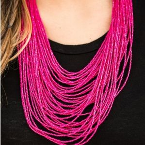 Pink necklace/earrings paparazzi seed bead